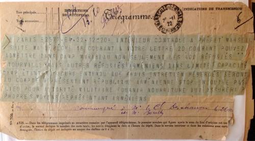 Télégramme arrivée du Tourville transportant des réfugiés arméniens, AD13 - 4 M 957