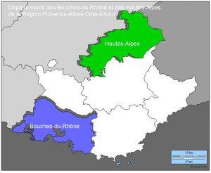 Départements Bouches-du-Rhône et des autes-Alpes (source histgeo.ac-aix-marseille.fr)